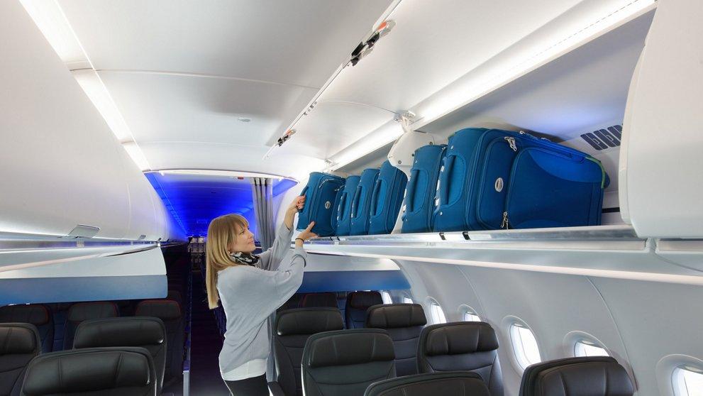 Cabina del Airbus A321neo de American Airlines.