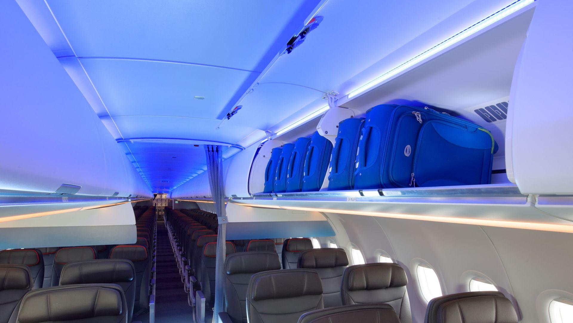 Cabina de un Airbus A321neo de American Airlines.