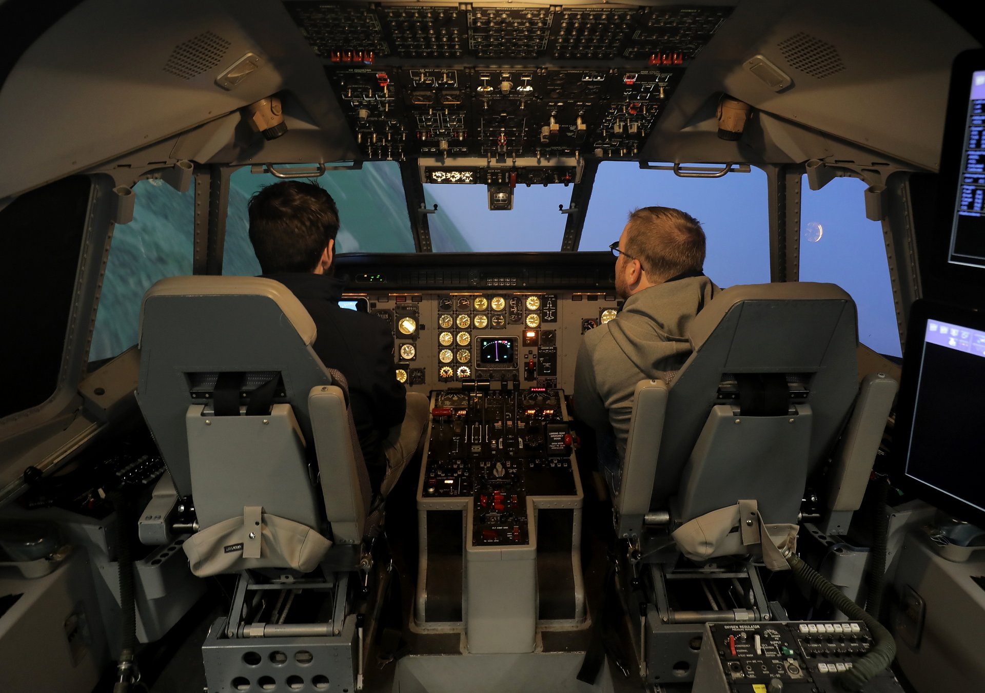 The full flight simulators at the Airbus International Training Centre for military aircraft are disinfected and cleaned following each session