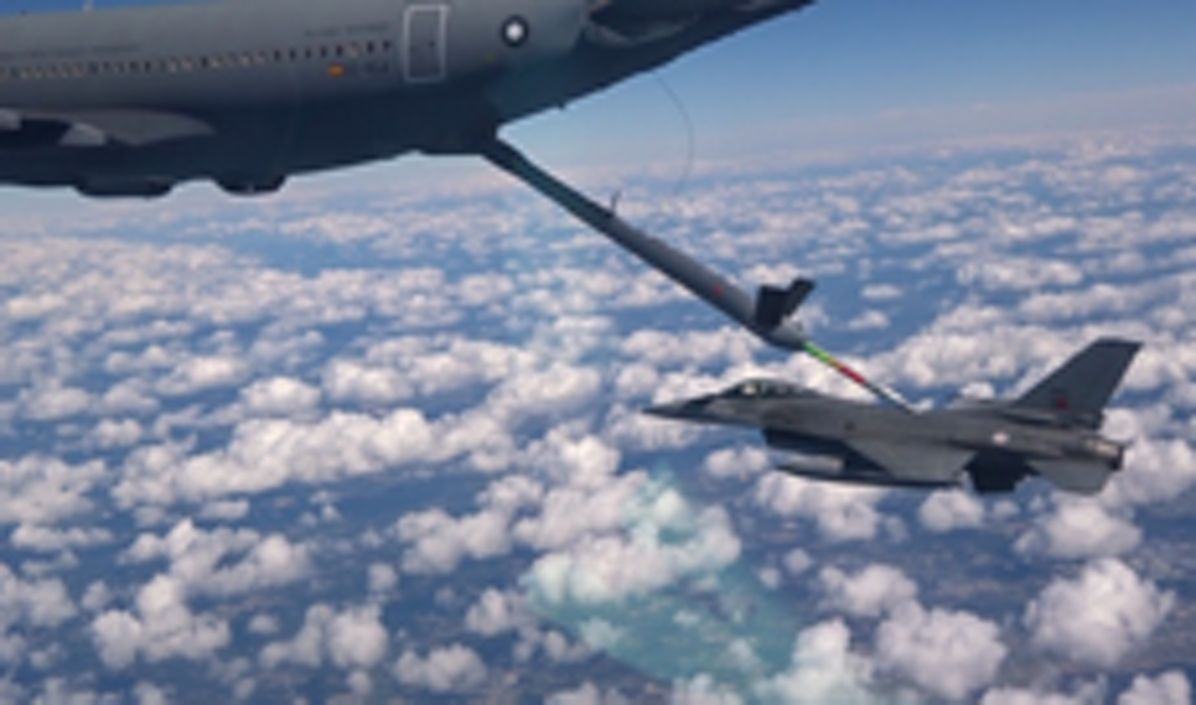 A310 MRTT performing automatic air-to-toair refuelling with a F-16 of the Portuguese Air Force