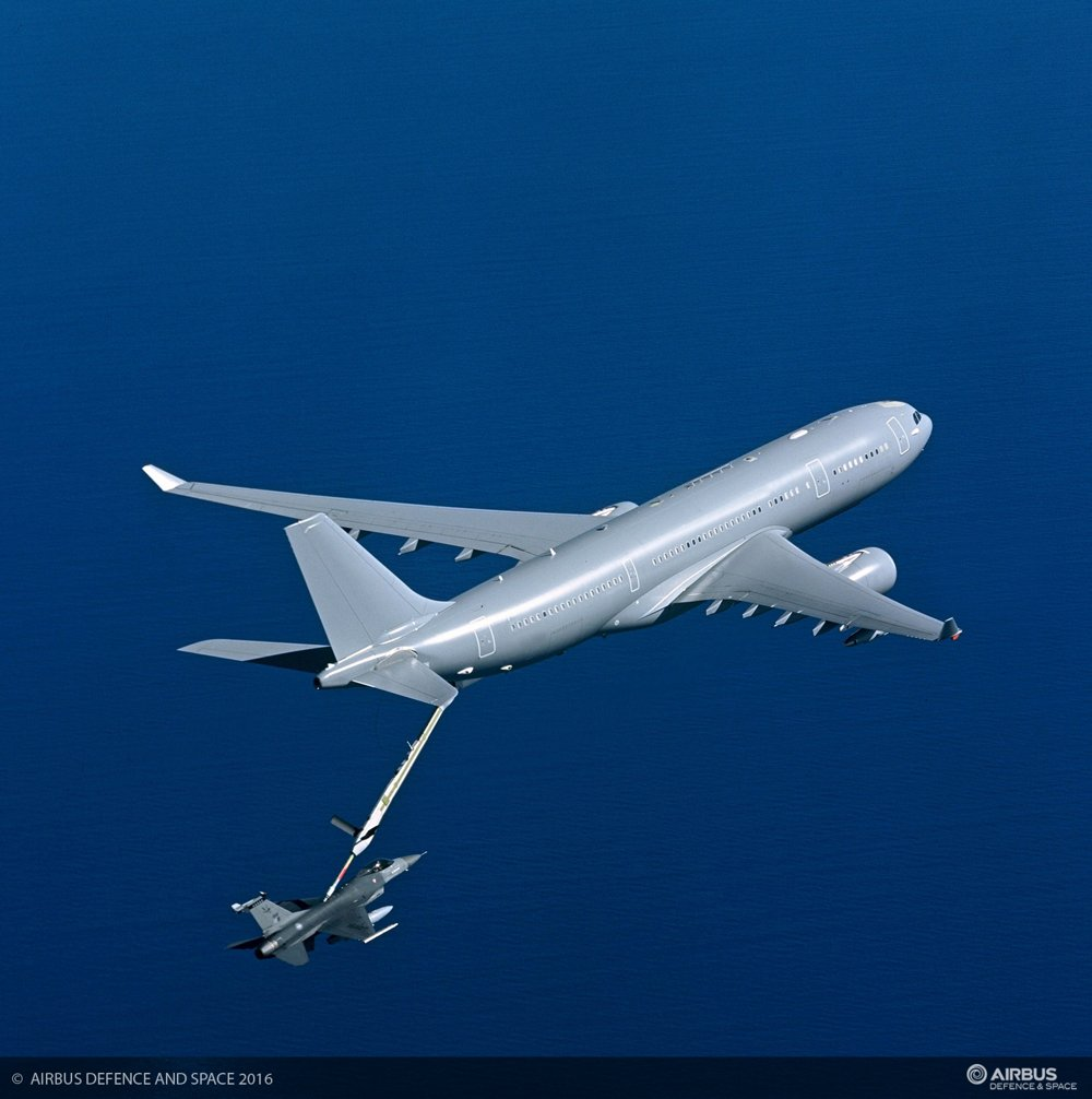 An A330 Multi-Role Tanker Transport delivered to the Royal Australian Air Force is shown during air-to-air refuelling.