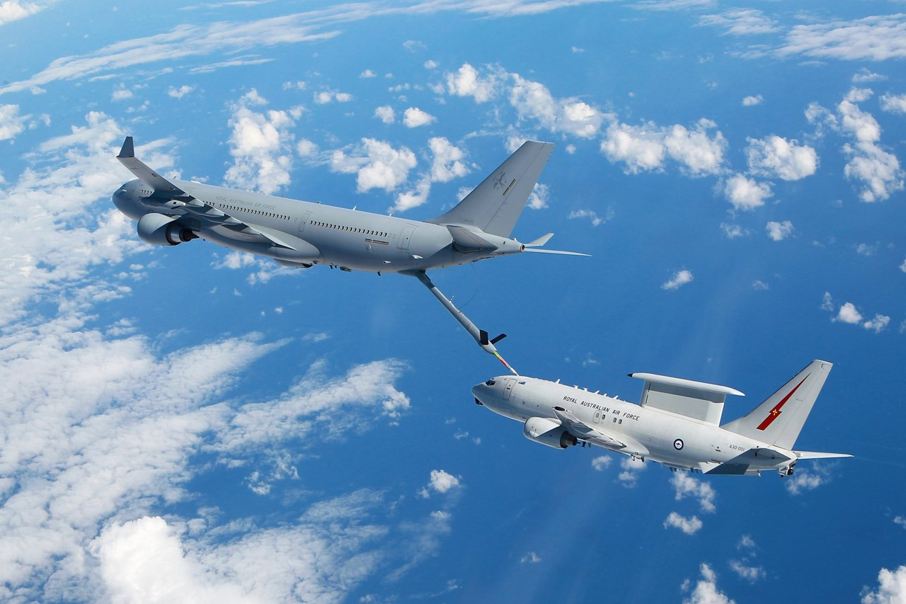 KC-30A MRTT and E-7A Wedgetail conduct Air to Air refuelling testing in the airspace near RAAF Williamtown. *** Local Caption *** Air-to-air refuelling trials between KC-30A Multi-Role Tanker Transport and E-7A Wedgetail