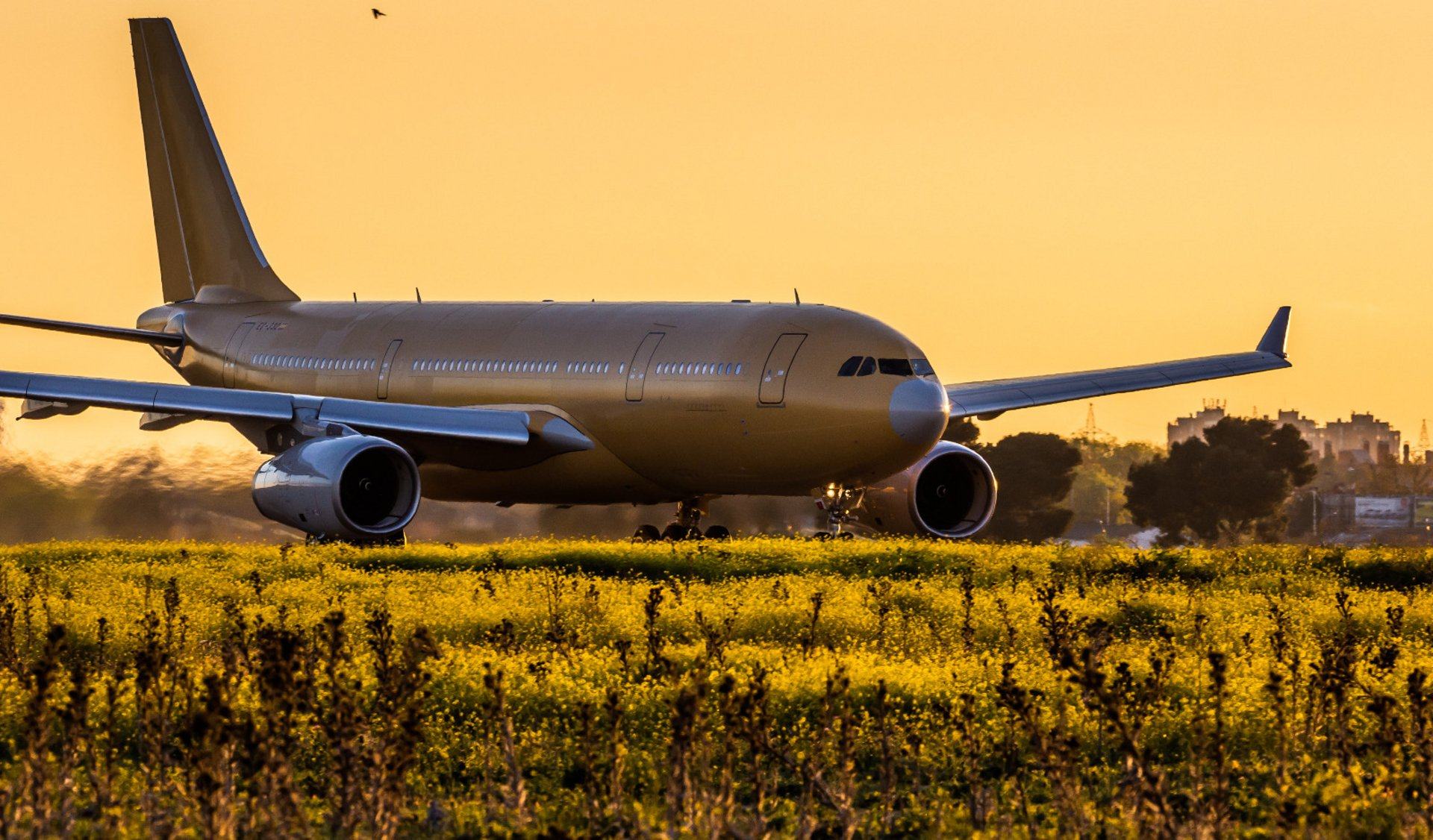 An A330MRTT taking off from the AIrbus Getafe site enroute to China.