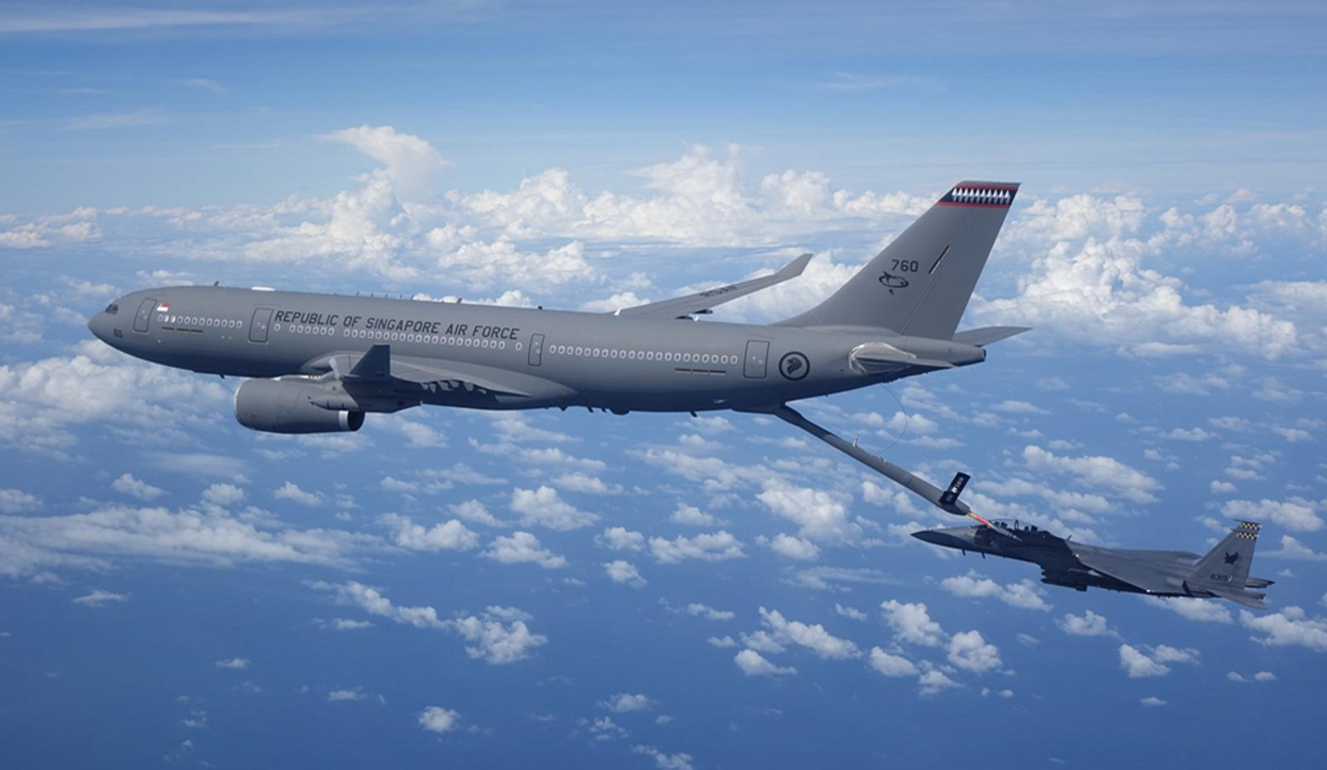 RSAF A330 MRTT in a refuelling operation with a RSAF F-15SG fighter.