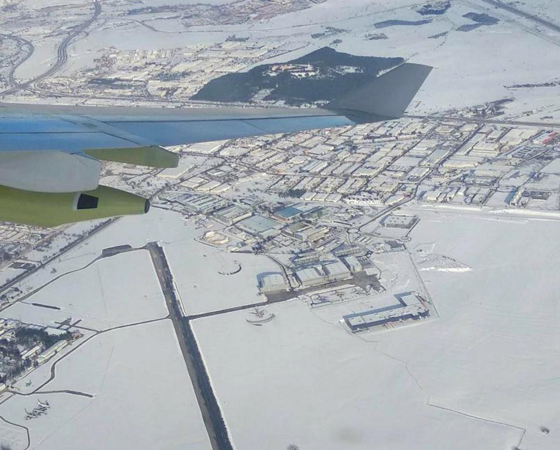Aerial view of Airbus Getafe site during storm Filomena - Copyright Airbus