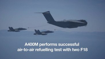A400M performs successful air-to-air refuelling test with two F18