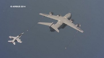 A400M refuels F/A-18 fighter for the first time