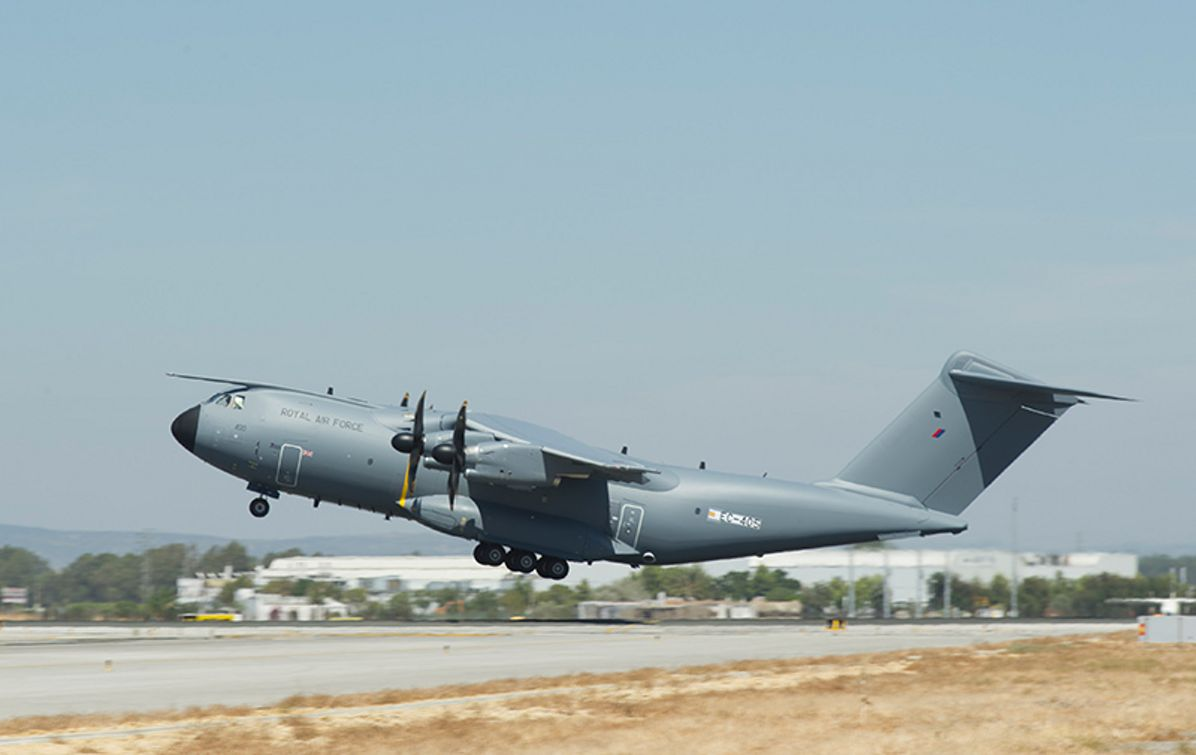 Maiden flight for the first Royal Air Force A400M