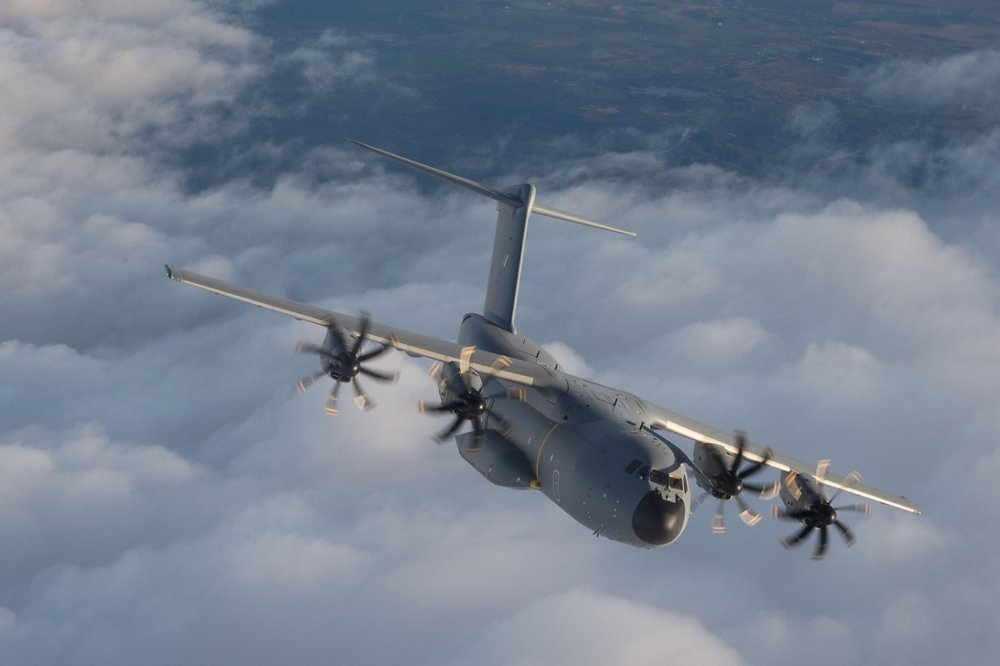 The initial A400M for the Royal Malaysian Air Force is shown in flight.
