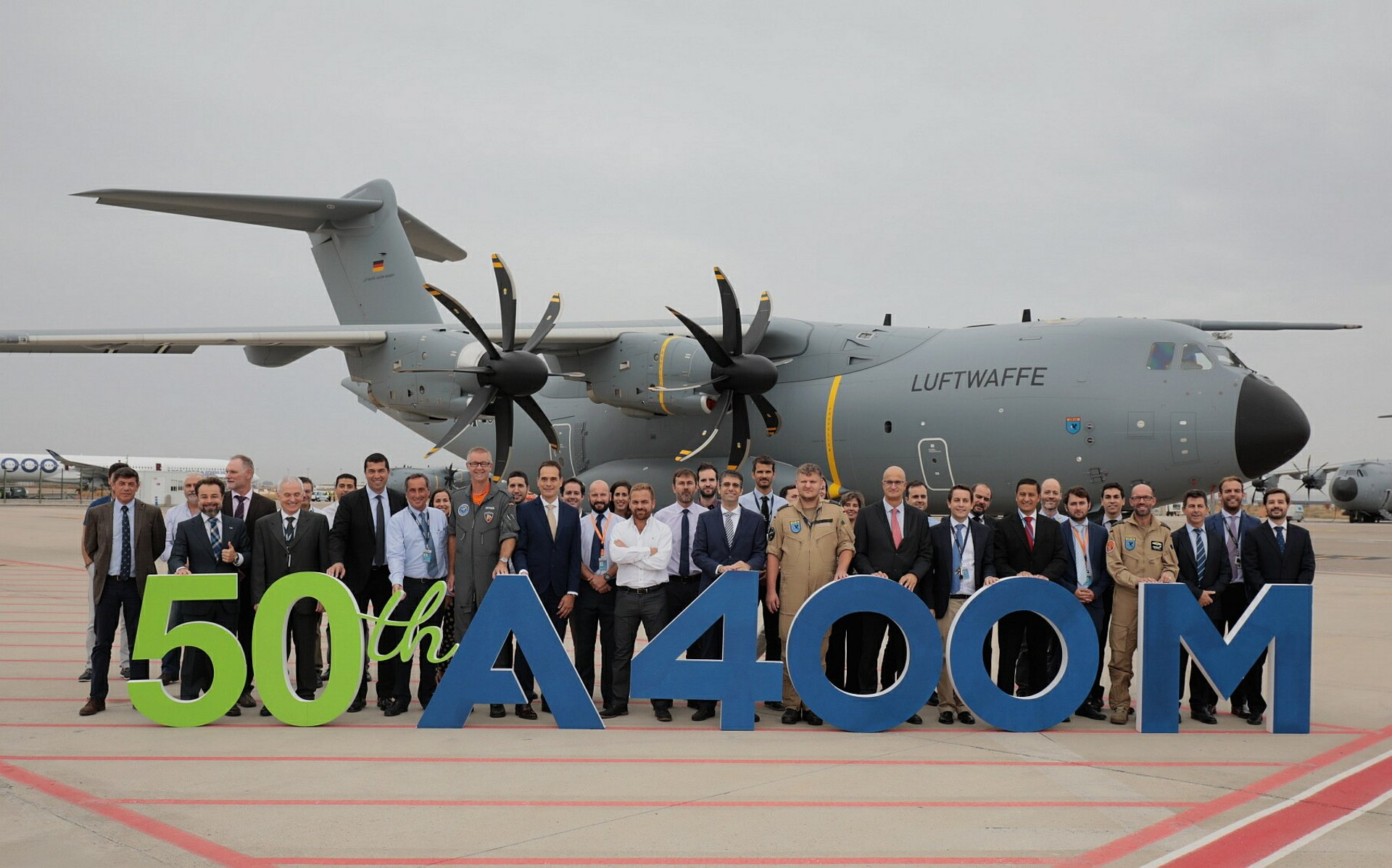 Airbus Defence and Space today delivered the 50th A400M new generation airlifter to the German Air Force marking a key milestone for an aircraft which is transforming the world of air mobility.