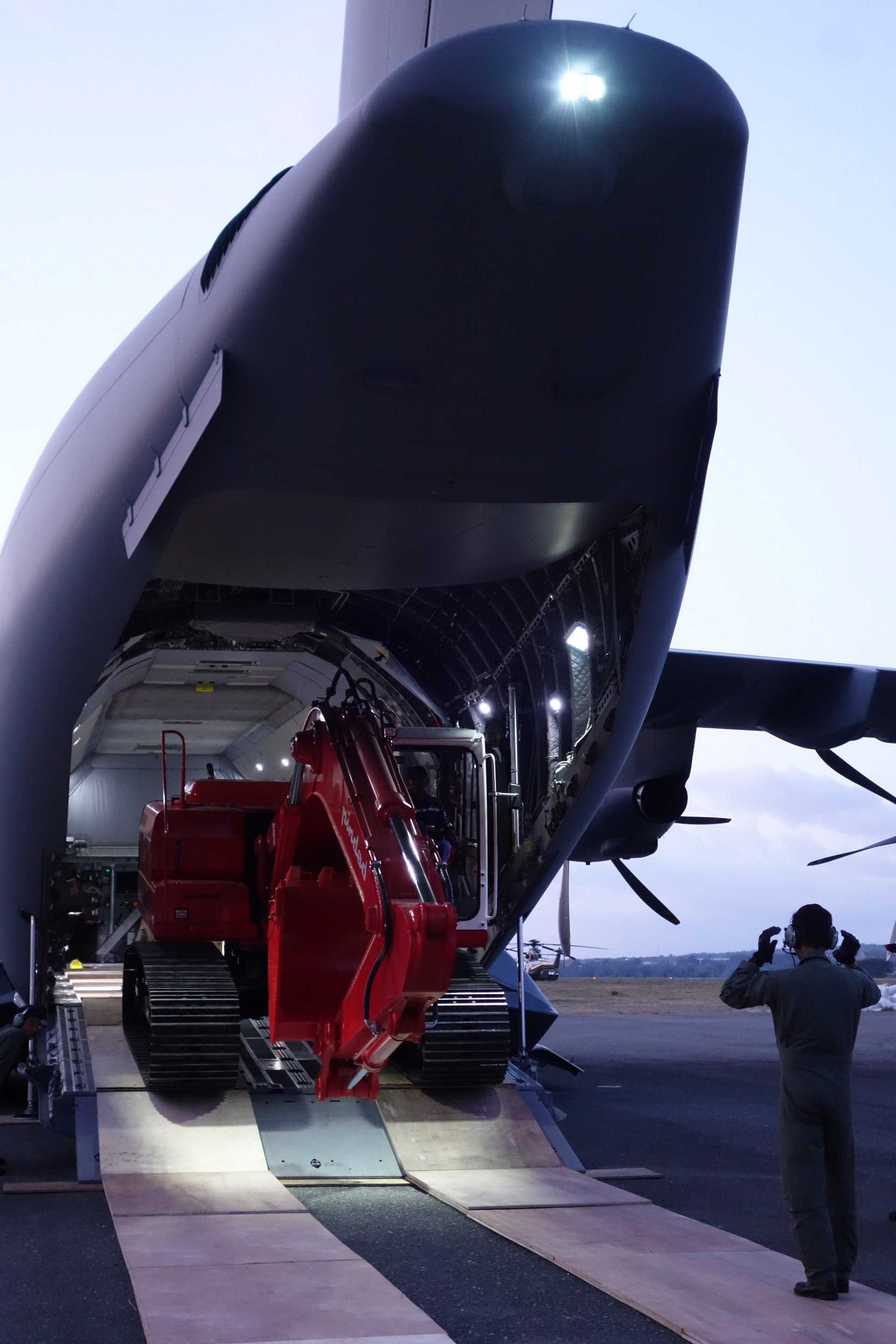 An A400M has been delivering relief material to Palu, Indonesia to support the victims of an earthquake and subsequent tsunami, which devastated the city on 28th September
