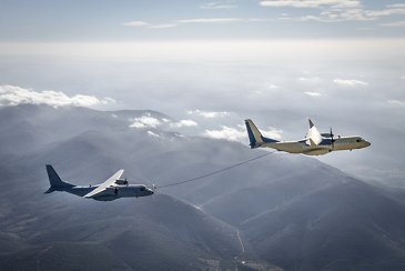 Two C295s aircraft successfully performing AAR wet contacts.