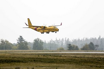 C295 FWSAR  lands at 19 Wing, Canadian Forces Base Comox, in British Columbia