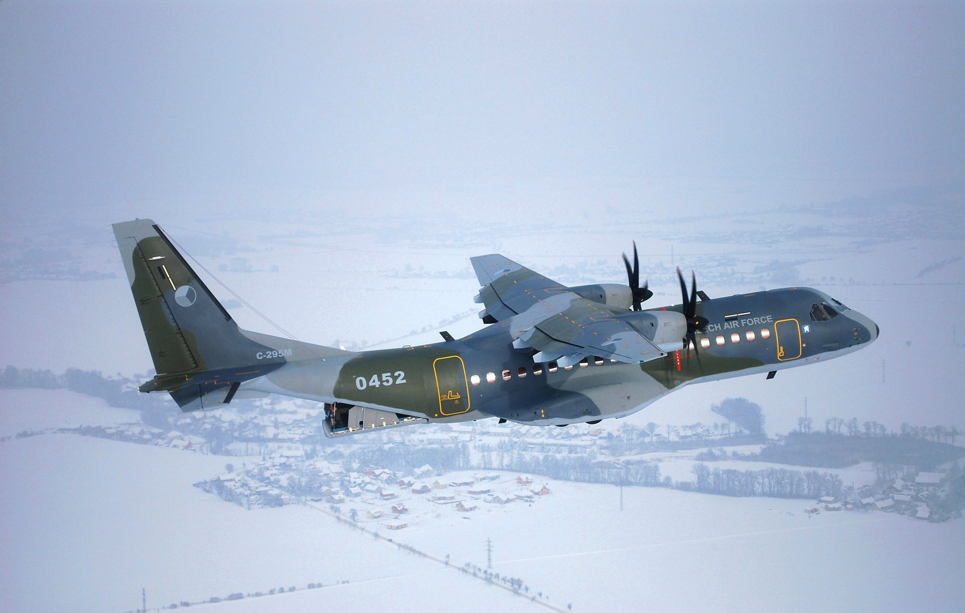 Czech Air Force's Airbus C295 medium airlifter in flight. The aircraft is equipped with winglets in transport configuration.
