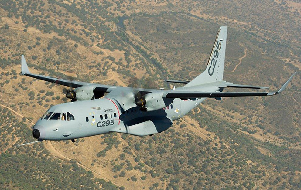 C295 medium transport aircraft flying