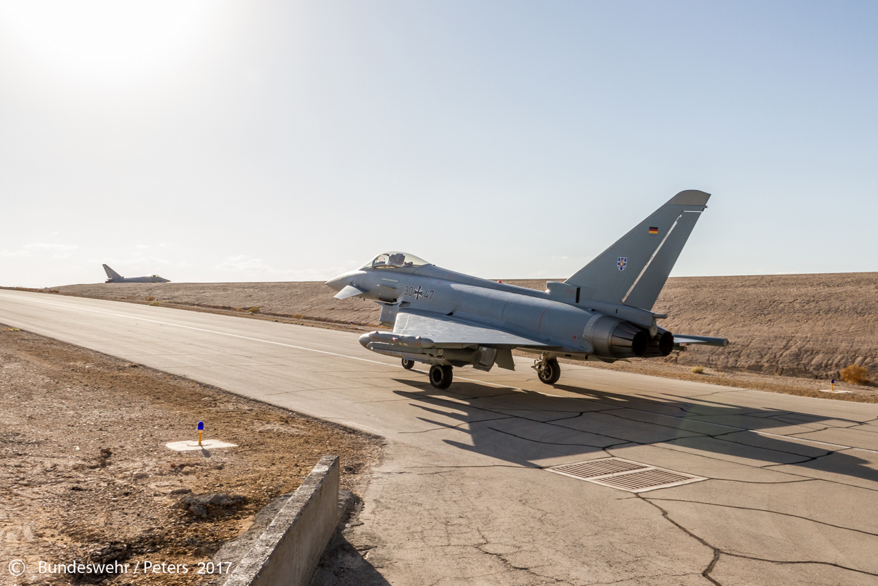 Deutsche Eurofighter nehmen an der internationalen Übung Blue Flag in Israel im Herbst 2017 teil.