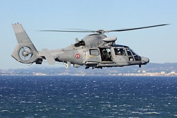 French Navy AS565 MBe in flight over the sea