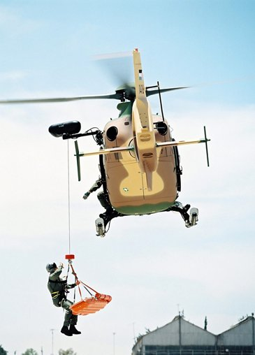 Royal Jordanian Air Force's H135M performing a MEDEVAC (medical evacuation) operation