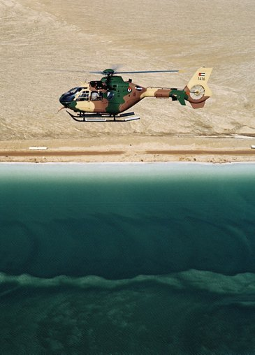 Airbus-built H135M flying over the Dead Sea