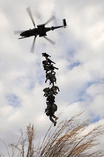 Winching up of a commando into an H225M Caracal