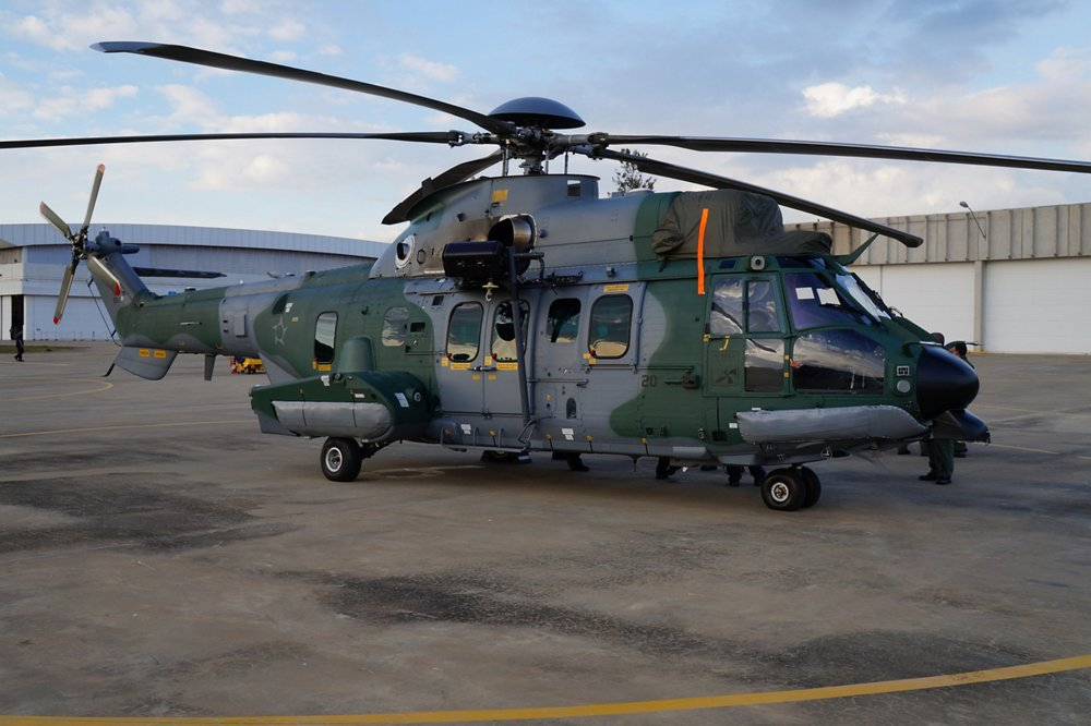 An H225M military helicopter produced by Airbus' Helibras subsidiary in Brazil.