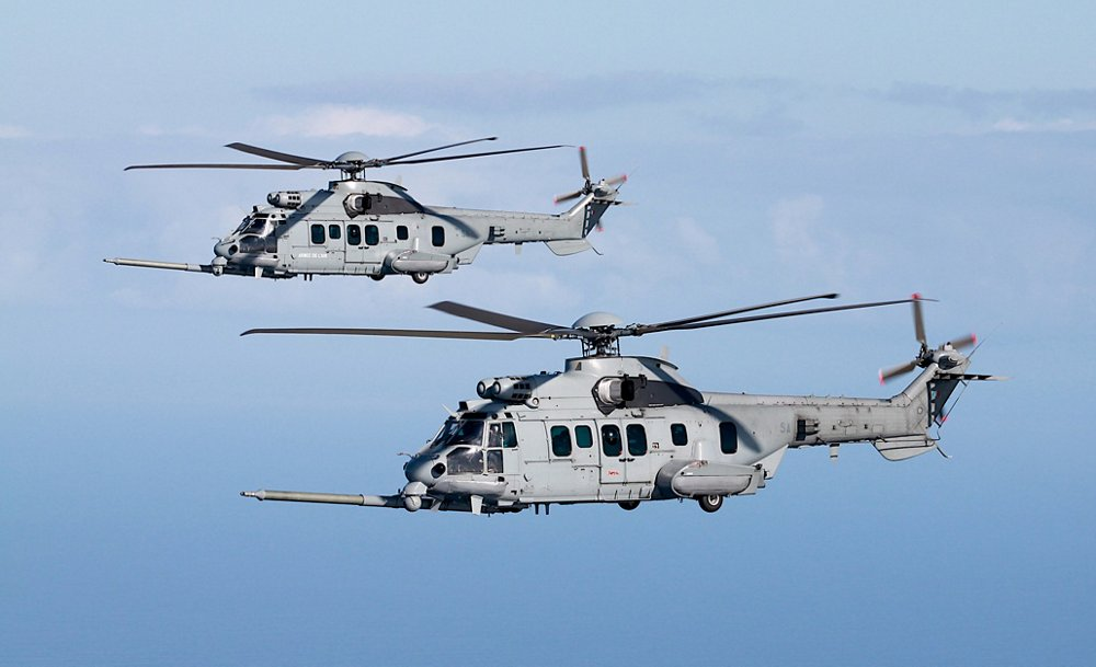 A formation flight with two Airbus H225M military helicopters in service with the Royal Malaysian Air Force.