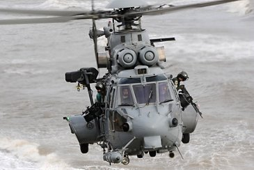 H225M Caracal in flight with commandos aboard