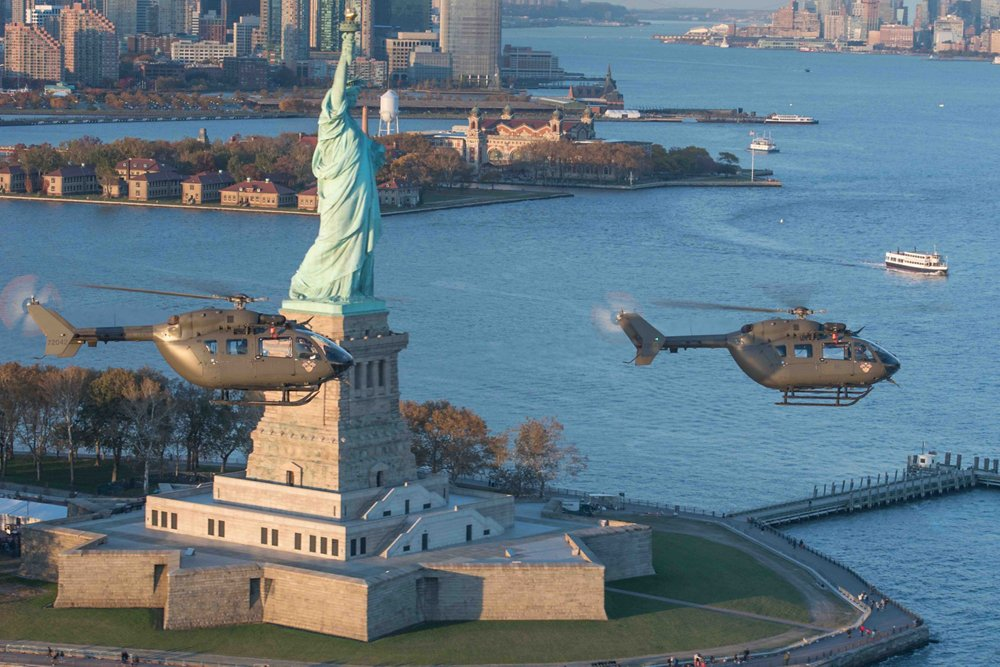 The U.S. Army's UH-72A Lakota helicopters fly past New York City's Statue Of Liberty in November 2018. The Lakota is produced by Airbus Helicopters at its facility in Columbus, Mississippi. It is the U.S. version of the H145M for the U.S. Army, with more than 430 having been delivered on time, on quality and on cost.