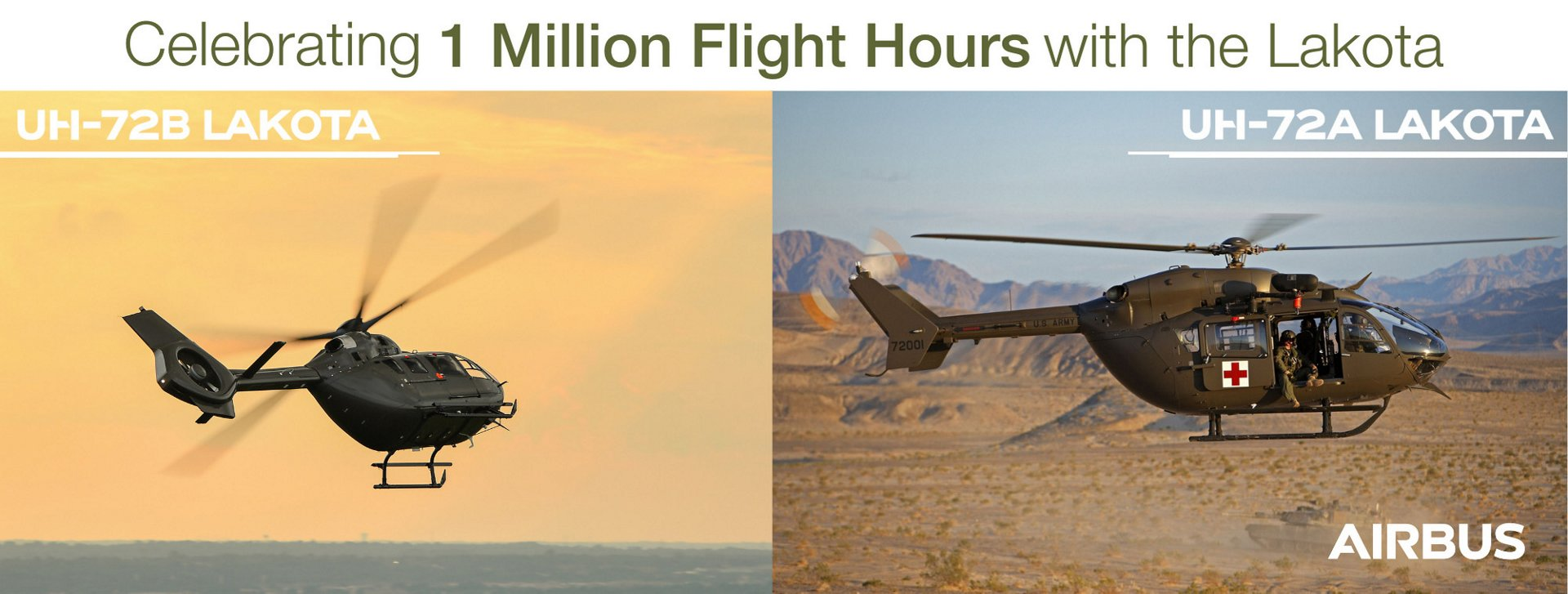 The Airbus Helicopters UH-72 Lakota fleet has exceeded the 1 million flight-hour mark, some 15 years after the first Lakota UH-72A entered service for the U.S.
