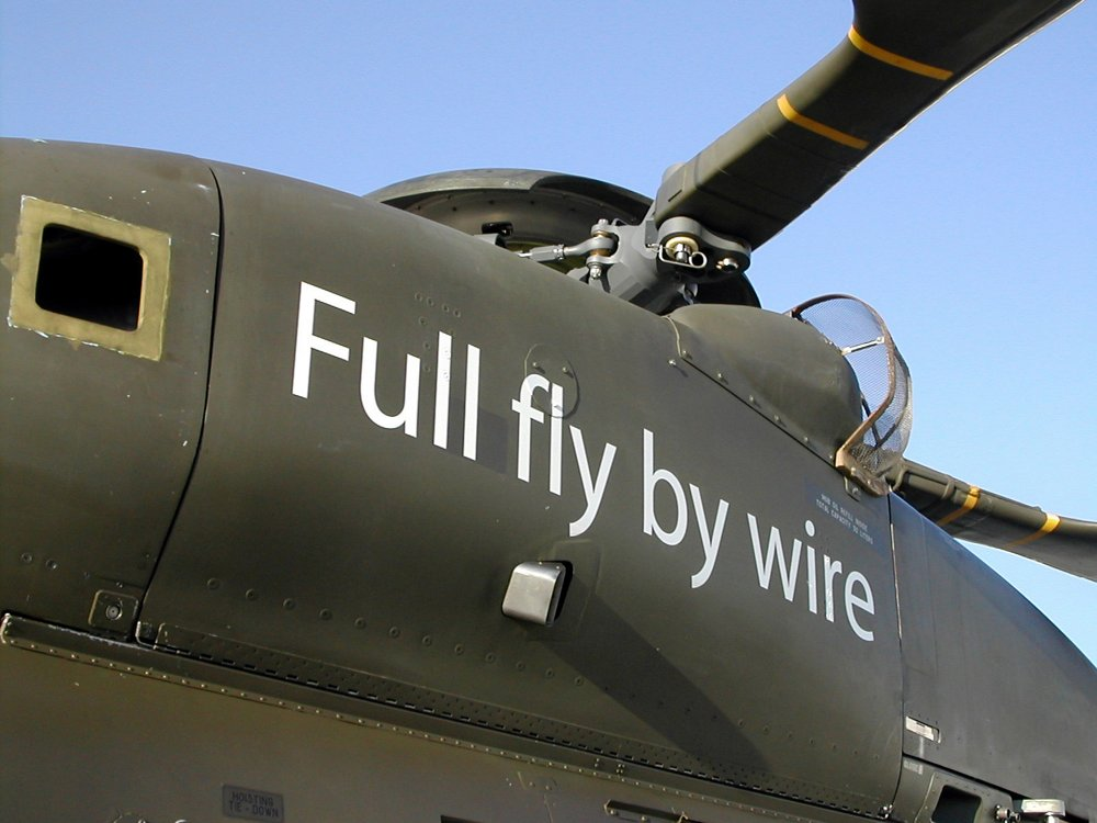 A close-up of the first NH90 helicopter with full fly-by-wire (FBW) controls, which performed its maiden flight in 2003.
