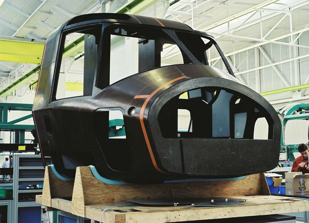 A photo of the front fuselage section for an in-production NH90 helicopter.