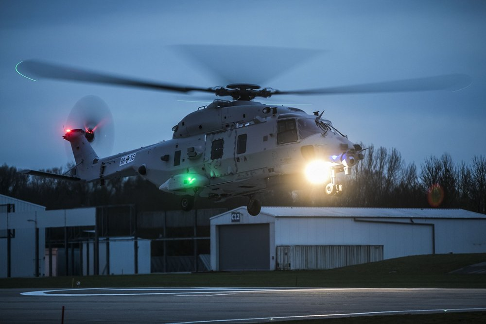 A German Navy NH90 second prototype landing after a successful first flight