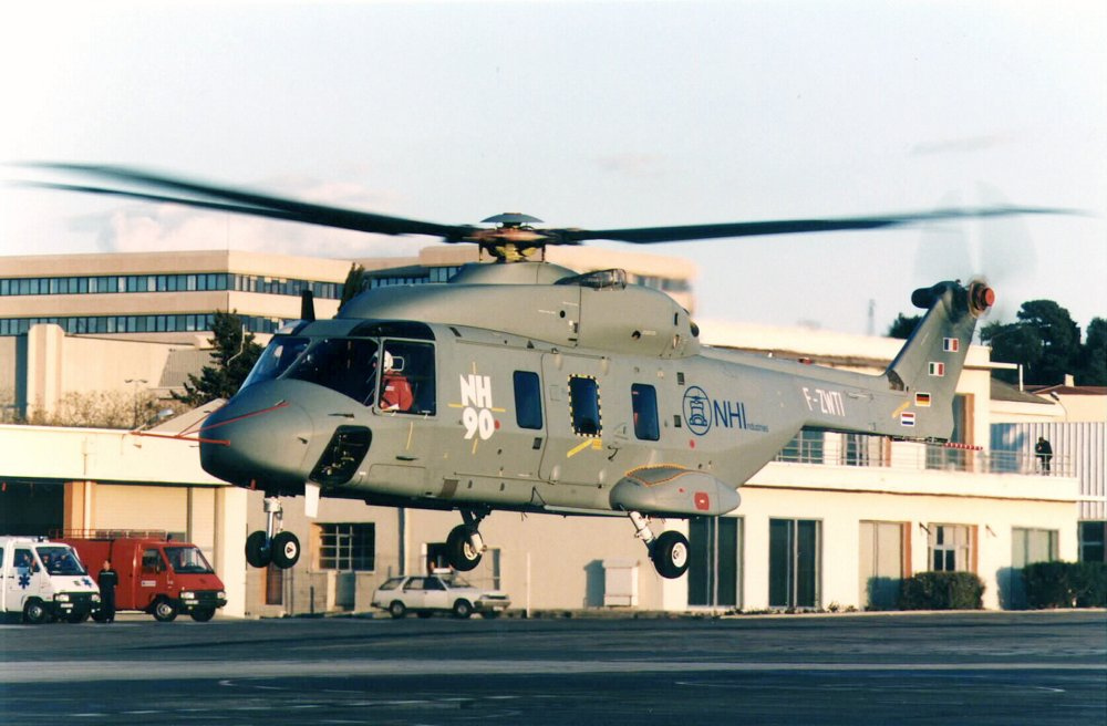 The second NH90 helicopter prototype takes off during its 1997 maiden flight.