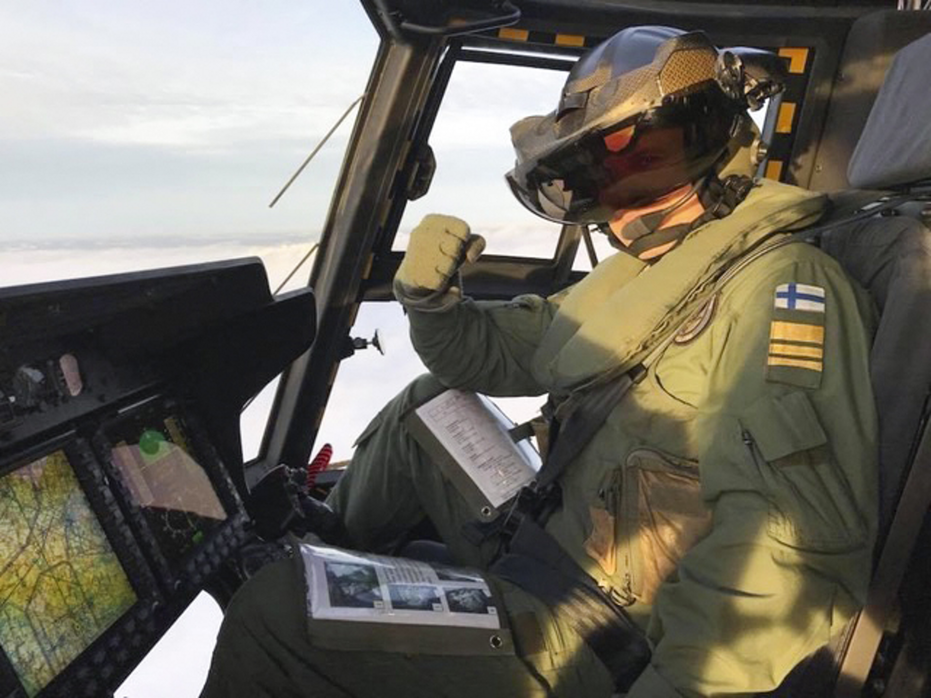 Inside view of a Finnish Defence Forces NH90 helicopter's cockpit.