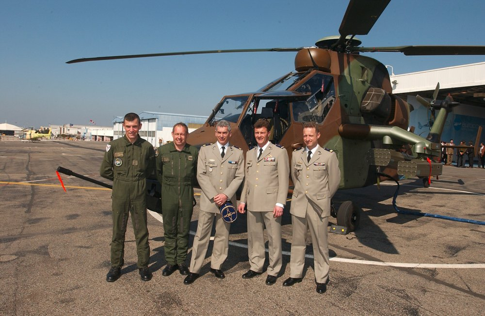 Representatives from the French Army mark delivery of this military service's first Tiger HAP helicopter in 2005.