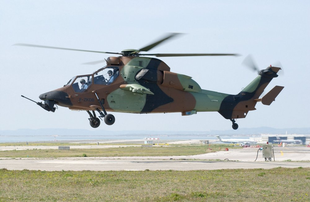 A side view of the first production Tiger HAP helicopter in flight