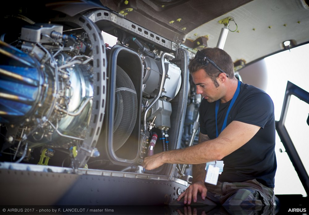 An engine for Airbus' Tiger HAD multi-role attack helicopter undergoes maintenance.