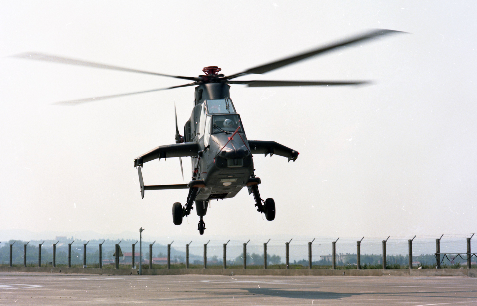 The Tiger combat helicopter ascends on its maiden flight.