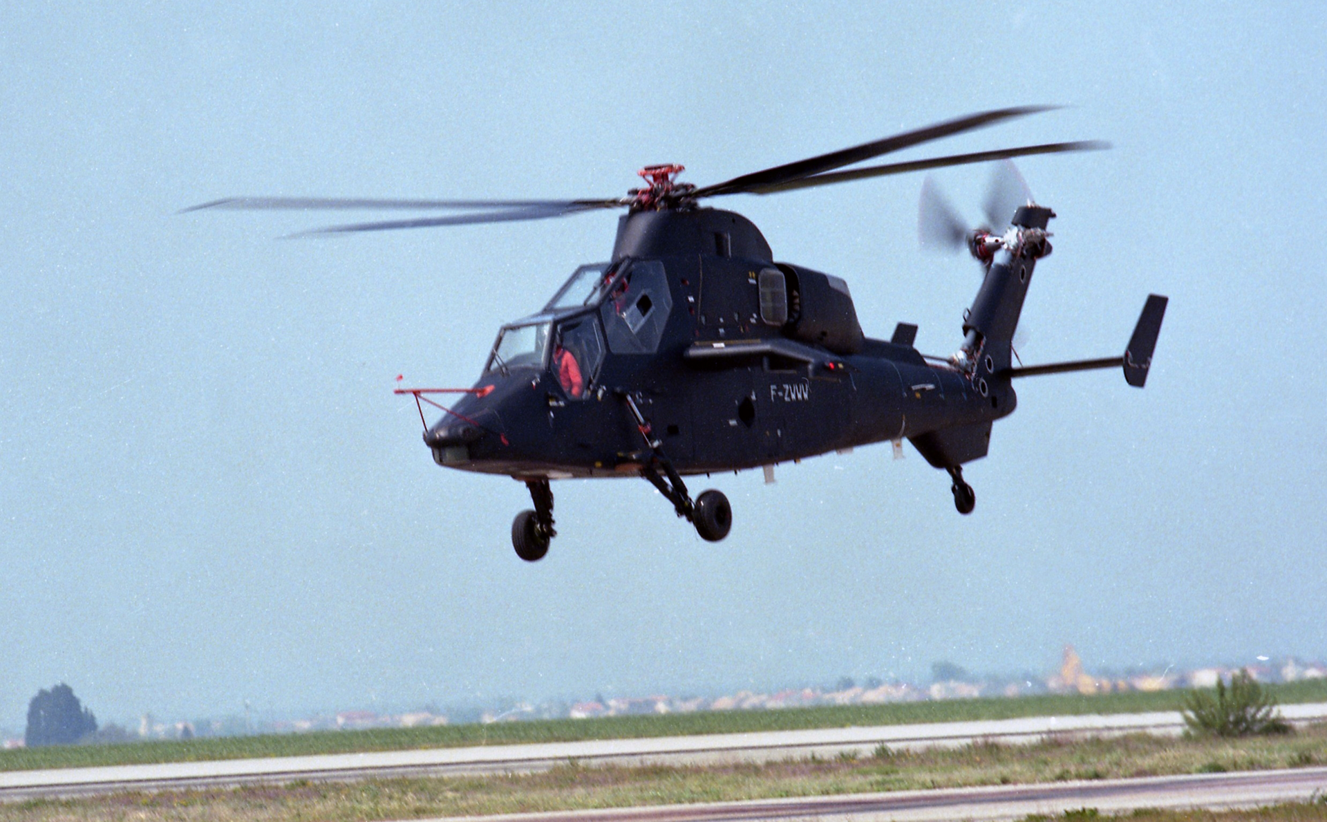 The Tiger combat helicopter is shown during its maiden flight.