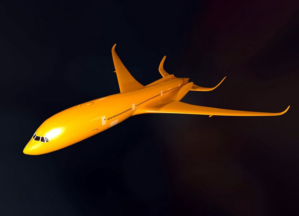 A next-generation aircraft design created using Computational Fluid Dynamic (CFD).