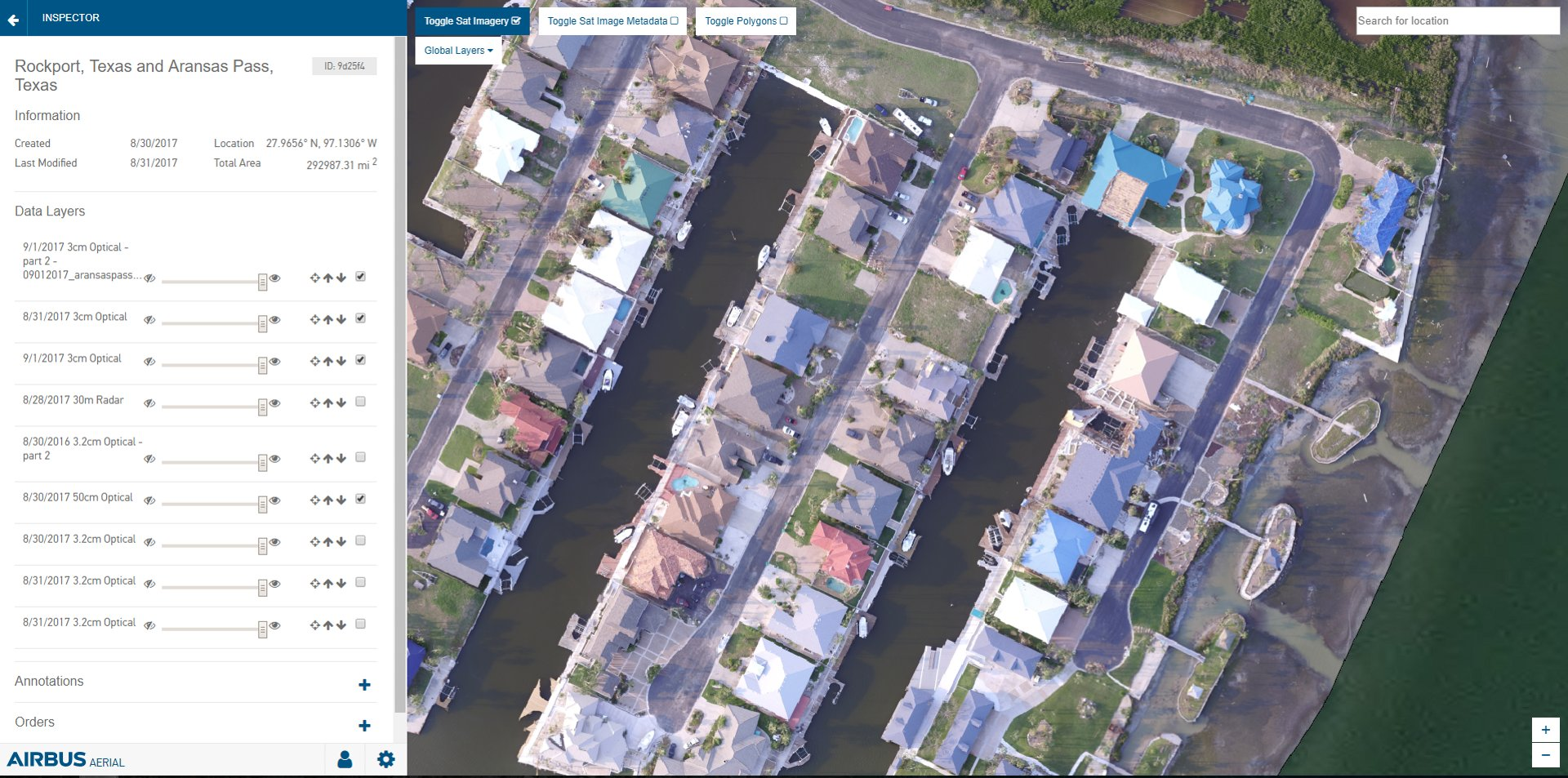 Airbus Aerial is helping hurricane recovery efforts in the southeastern US by granting insurance companies access to its library of aerial base maps and data analytics of the affected region. The sample above shows the company's drone-captured imagery with data layers of Rockport, Texas.