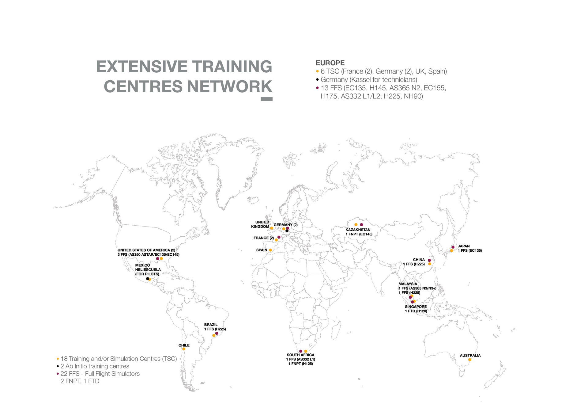 Map of Airbus Helicopters' extensive network of training centres.