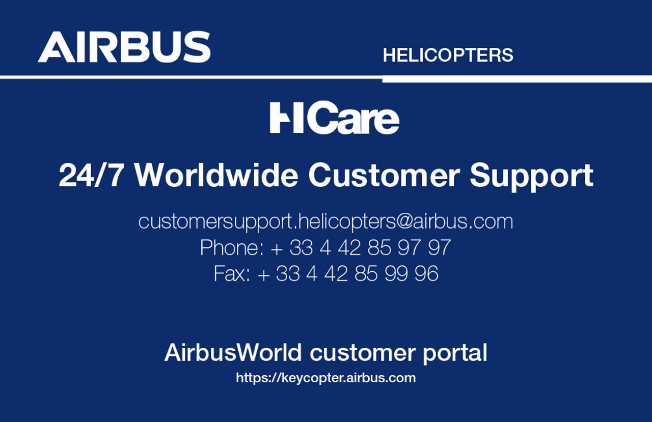 A graphic displaying the contact information for Airbus' HCare services.
