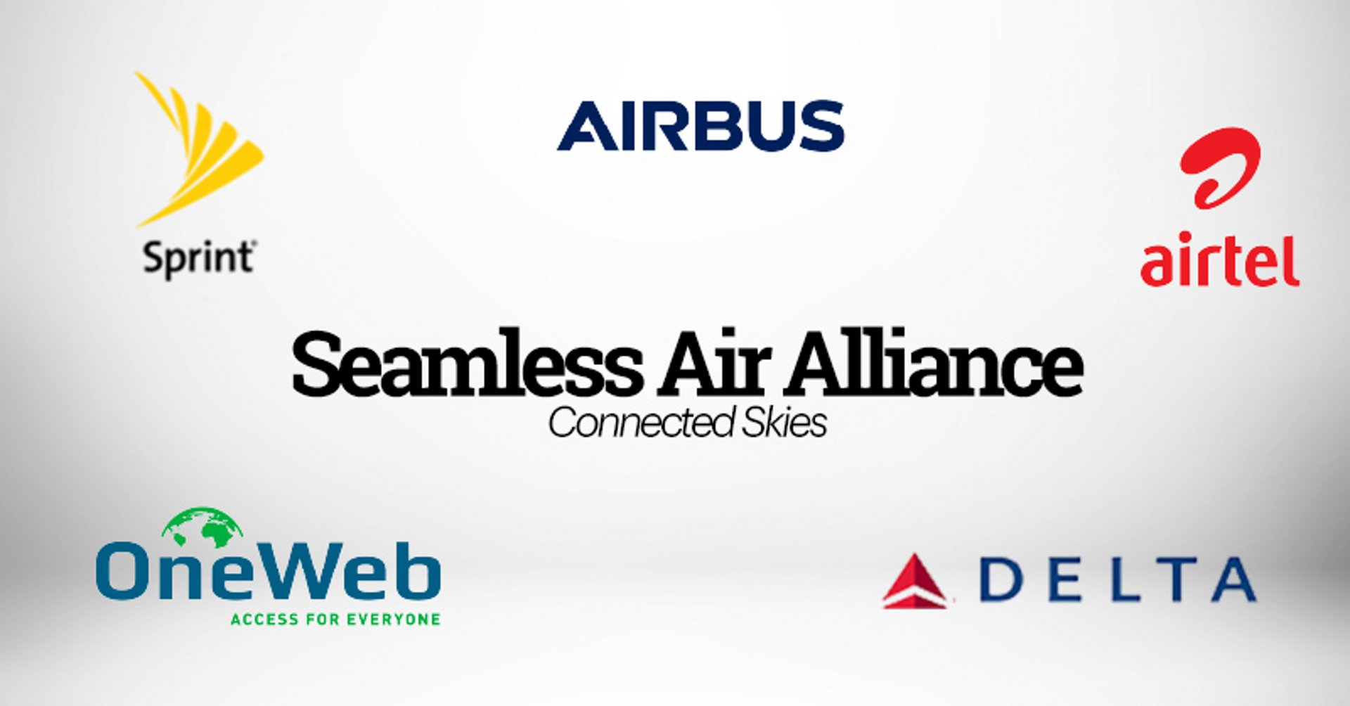 """Airbus, Delta, OneWeb, Sprint, and Bharti Airtel (""""Airtel"""") announce the formation of the Seamless Air Alliance – which will usher in a new era of innovation for airlines on all routes. By empowering member mobile operators to extend their services into airline cabins, the Seamless Air Alliance will allow them to continuously provide their customers – via satellite technology – with the same high speed, low latency connectivity from ground, to air and back again. It will also significantly reduce costs for everyone involved while creating a smooth, positive user experience."""