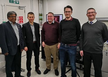 From left: Prof. Ravi Silva, Director of the Advanced Technology Institute at University of Surrey; Michal Delkowski, Development Engineer and Project Technical Lead at Airbus Friedrichshafen; and Dr. Jose Anguita, Dr. Christopher Smith and  James Hodges from the University of Surrey)