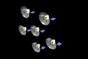 Artist impression of an Oberon Project Spacecraft Cluster