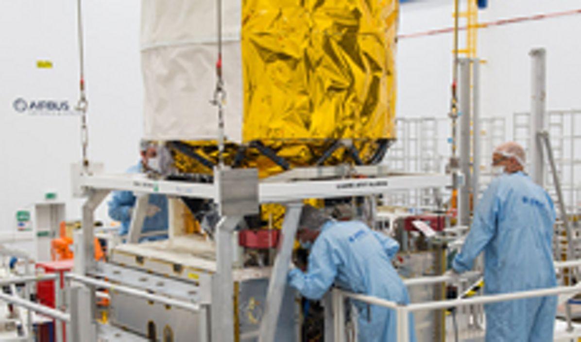 Aeolus/Laser coupling/Airbus DS, Aeolus, the European Space Agency's wind sensing satellite , in production in Stevenage, UK