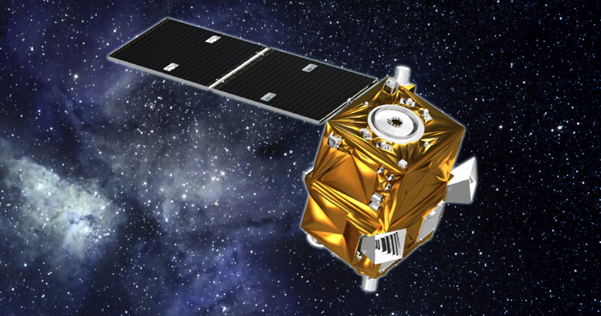 A representation of the Airbus-produced AstroBus-XS Earth observation satellite in orbit.