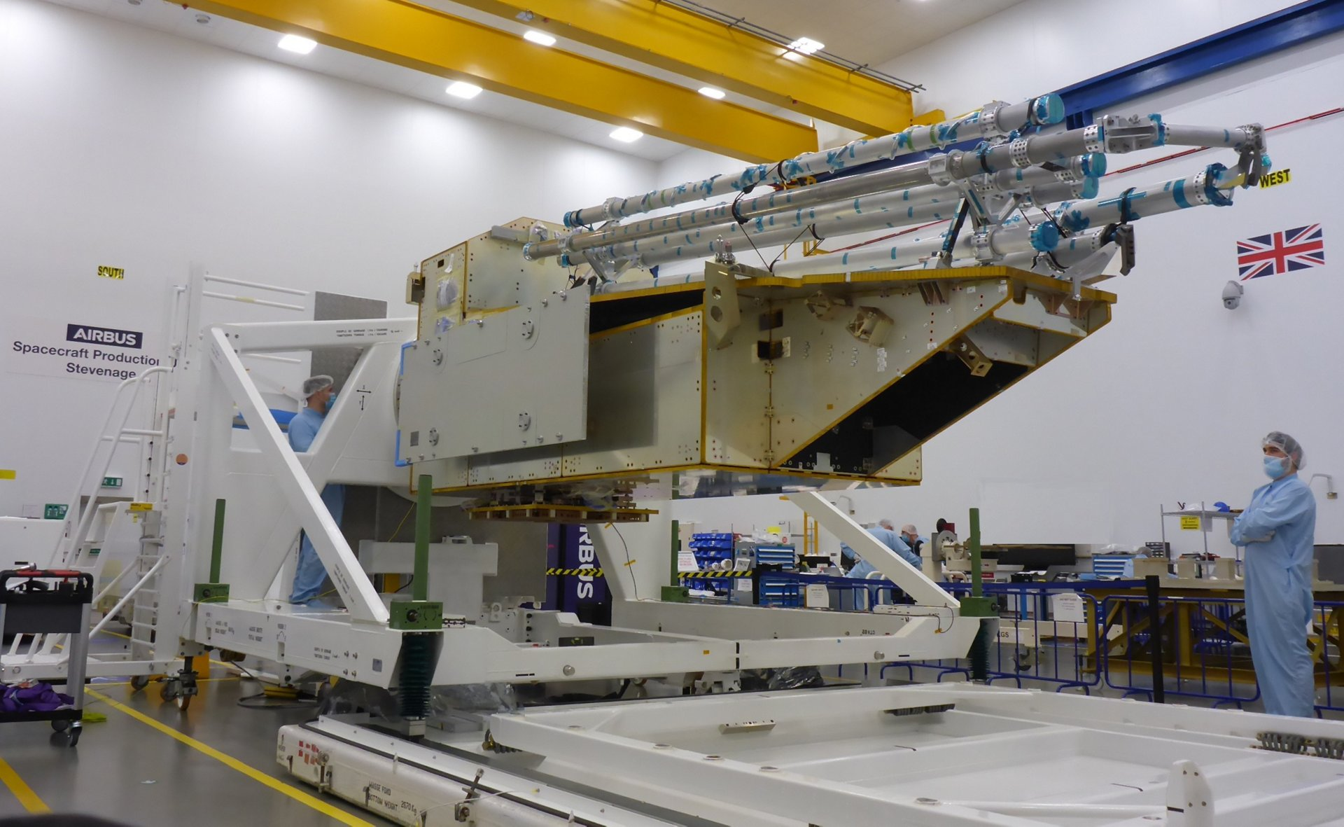 Biomass, the European Space Agency's (ESA) forest measuring satellite is taking shape at Airbus' site in Stevenage with the Structure Model Platform completed.