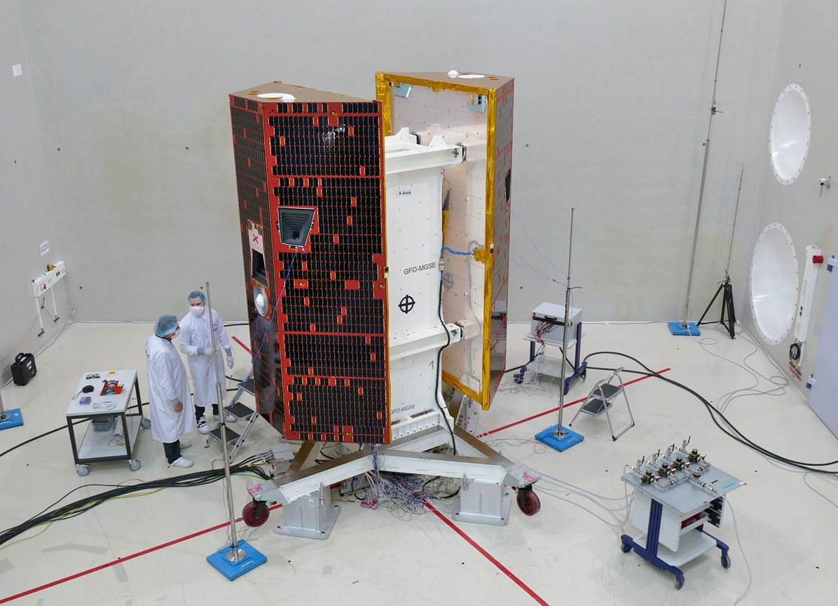 Grace-Fo satellites prepared for Acoustic Noise Test, Preparations for the acoustic noise test for the two GRACE-FO satellites